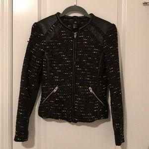 H&M Tweed/Knit/Faux Leather Jacket